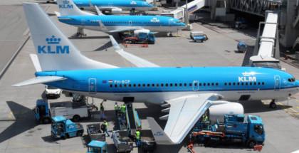 KLM vliegtuigen aan de gate